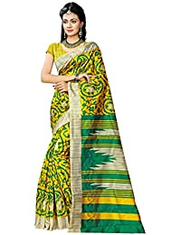 Indian Robe Daily Wear Art Silk Saree (Yellow And Green, Free Size, Pack Of 1)