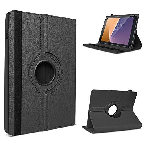 UC-Express Vodafone Tab Prime 6/7 robuste Tablet Schutz Hülle aus hochwertigem Kunstleder Tasche mit Standfunktion 360° drehbar Universal Cover Case kombiniert Schutz und Design, Farben:Schwarz