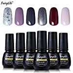 Color:Glitter Silvery White - 1853,Lavender Frost - 1579,Dark Grey - 1538,Pearl Greyish Green - 1428,Chocolate - 1330,Light Apricot Pink - 1361 Exclusive Brand Product: FairyGlo 6 PCS Gelpolish Color: Glitter Silvery White - 1853,Lavender Frost - 157...