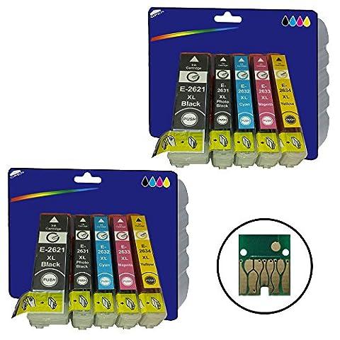 Core-Tekk Lot de 2cartouches compatibles avec les imprimantes Epson Expression Premium XP-510, XP-520, XP-600, XP-605, XP-610, XP-615, XP-620, XP-625, XP-700, XP-710, XP-720, XP-800, XP-810, XP-820