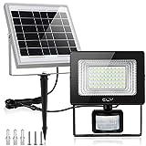 CLY Solarlampe für Außen Solar Strahler 60 LED Solarleuchte mit Bewegungsmelder LED Solar Bewegungsmelder Aussen IP66 Wasserdicht Super Hell 400LM für Garten Garage Patio