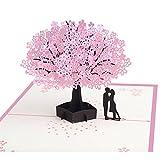 3D Romantic Cherry Blossom Karte blanko für Geburtstagsgrüße,Originell als Geburtstagskarte, Glückwunschkarte, Einladungskarte oder ausgefallene Hochzeitskarte mit Umschlag im Set