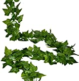 RURALITY 8 Ft Artificial Silk English Ivy Wedding Garland ,Sweet Potato Leaves,Pack of 2