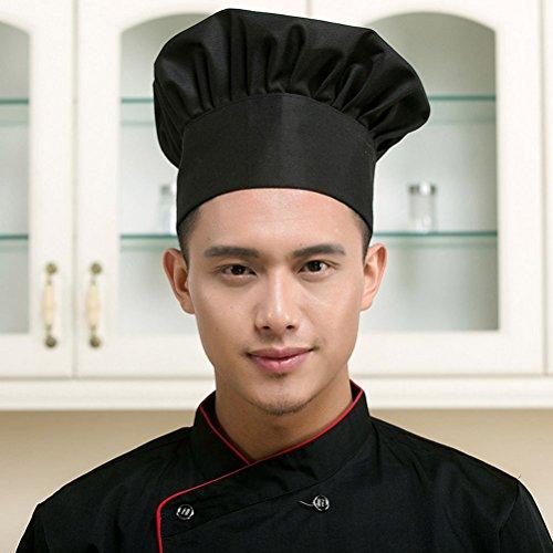 LEORX Gorra de cocinero sombrero de chef con estilo seta para restaurante de cocina (negro)