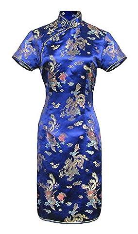 Robe chinoise Qipao bleu marine motif dragon à petites manches