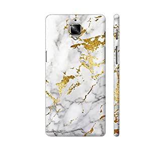 Colorpur White And Gold Marble Print 1 Artwork On OnePlus 3 Cover (Designer Mobile Back Case) | Artist: UtART