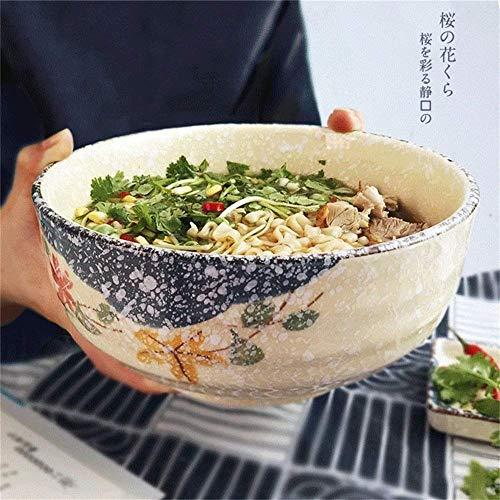 WJSW Japanischen Stil Große Suppe Ramen Nudeln Schüssel Kreative Handgemalte Obstsalat Schalen Keramik Mikrowellenfestes Mischen Servierschalen (Größe: 7 Zoll)