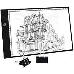 Mesa de Luz A4, Caja de Luz Portátil con USB, Control Táctil nteligente Regulable, Dibujo Portátil Almohadilla de Luz para Dibujo de Copia, Animación, Bocetos, Stencilling, etc.