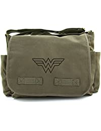 Wonder Woman Symbol Army Heavyweight Canvas Messenger Shoulder Bag In Olive & Black By Grab A Smile