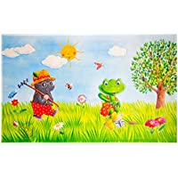 Spiegelburg Garden Oskar der Frosch - Kinderteppich 100x160 cm Farbe Grün, Öko-Tex zertifiziert für Kinderzimmer und Babyzimmer, freundliche Bildmotive