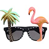 PARTY DISCOUNT ® Brille Hawaii, Palme & Flamingo - SPAR-PACK mit 5 Stück