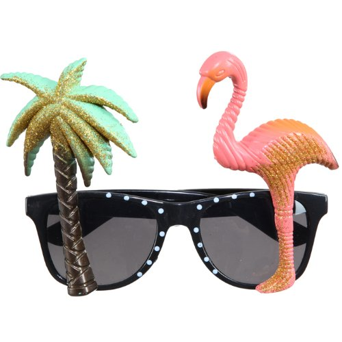 Flamingo Kostüm Männer - Brille Hawaii, Palme &