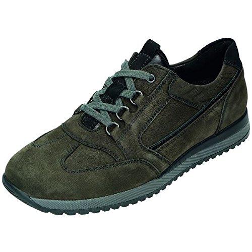 Chemin de forêt homme chaussures basses cuir nubuck, amovible cuir Pied Lit, TR-Semelle Noir - schiefer/schwarz Weite H
