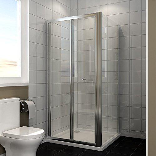 Duschkabine nische Nischentür Duschwand glas faltbar für Badezimmer 90x80cm mit Seitenwand