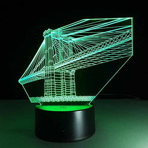 Berühmter Brückenbau 3D LED Licht Nachtlicht Optische Täuschung Lampe Tischlampe 7 Farbfernbedienung & USB-Ladegerät Feiertagsdekoration