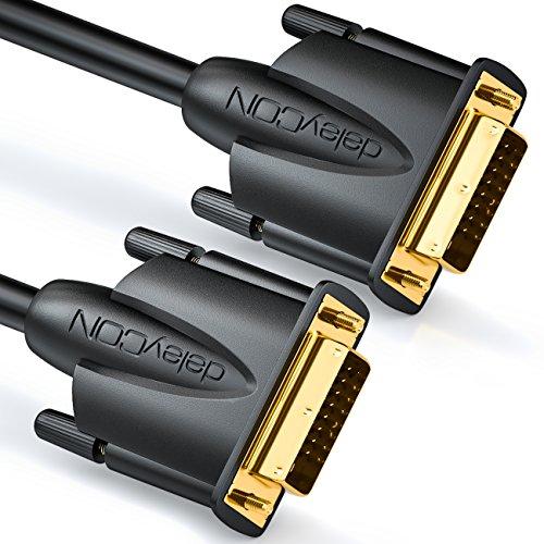 deleyCON 0,5m DVI Kabel Dual Link 24+1 HDTV Auflösungen bis 2560x1080 FULL HD 1080p 3D Ready DVI-D Dual Link vergoldete Kontakte - Schwarz