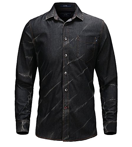 Icegrey Herren Freizeit-Hemd Gr. XXX-Large, Acid Black (Denim Western-snap)
