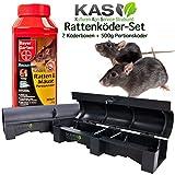 KAS - Rattenköder-Set (2 Köderstionen für Rattengift Mäusegift + 500g Portionsköder für Ratten & Mäuse)