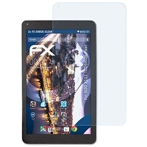 atFolix Schutzfolie kompatibel mit XIDO X111 1024x600 Pixel Panzerfolie, ultraklare & stoßdämpfende FX Folie (2X)