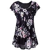Livoral T-Shirt pour Femme d'été léger et Confortable, Haut décontracté et élégant Women's Short Sleeve Casual Tunics Shirt Floral Pleated Front Mesh Blouses Tops (Noir,Medium)...