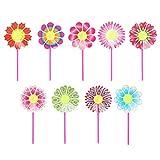 Lunji 10 Stück Blumen Windmühle Garten Dekoration Kinder Spielzeug Im Freien Spinner Windmill