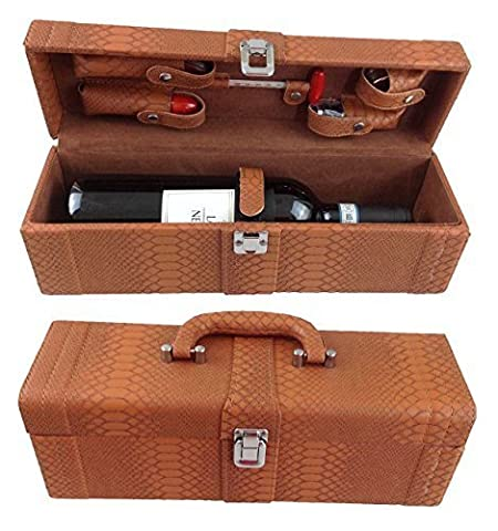 Wine Box Wine Accessories Set of 6Gift Set with Waiter's Friend Corkscrew, Bottle Stopper and Wine Thermometer in a Deluxe Faux Leather Wine Giftbox–12Wine Accessories Set LN