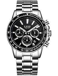 8ae24a24ca30 Relojes para Hombre Acero Inoxidable Impermeable Reloj Hombres Lujo Marca  LIGE Cronógrafo Cuarzo Analógico Reloj Vestido