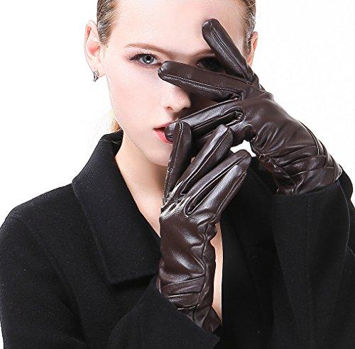 HARRMS Damen Winter Handschuhe Echt Leder Touch Screen Gefüttert aus Kaschmir Wolle Lederhandschuhe, Braun