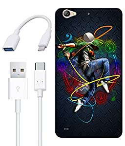 Combo of Dance HD UV Printed Mobile Back Cover, Charging Cable and OTG Cable For Letv Le 1S