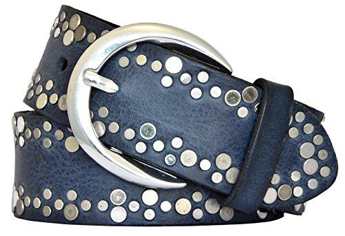 Vanzetti Damen Leder Nieten Gürtel Belt Ledergürtel Damengürtel marine 40mm mit Airbrushkanten (105 cm)