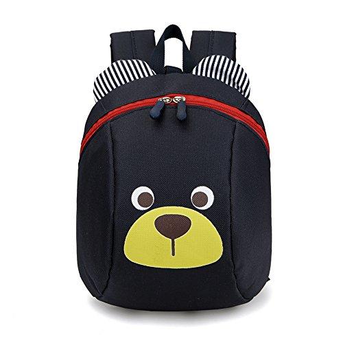 Luerme Kinderrucksack Kleinkind Jungen Mädchen Kindergartentasche Niedlich Cartoon Bär Backpack Schultasche Rucksack (Schwarz) (Niedlich Rucksack Mädchen Für)