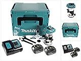 Makita DRT 50 RTJ 18 V Li-Ion Akku Brushless Multifunktionsfräse im Makpac mit 2x BL 1850 5,0 Ah Akku + DC18RC Ladegerät