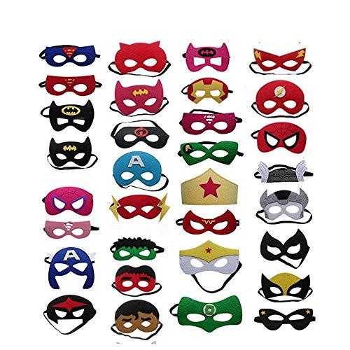 Superhelden Masken, 32 Stück Kinder Masken Halbe Augenmasken für Kinder Erwachsene Partytasche Füller Filzmaske mit Verstellbarem Elastischem Seil von 3 + (Sie Hulk Kostüm)