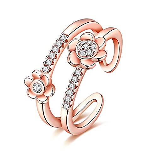 YEAHJOY Women's Dainty Flower Adjustable Size Open Rings Resizable Fashion