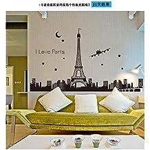 Zooarts Torre Eiffel fluorescente Pegatinas extraíble pegatinas de pared Art Decor Calcomanías de vinilo Home Mural de Habitación