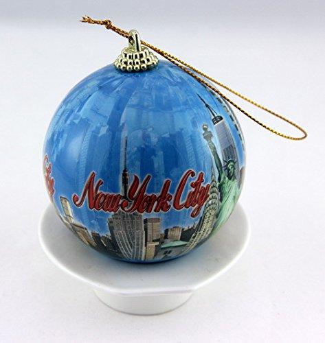 New York Blue Night Skyline Christmas Ball Ornament