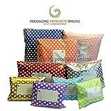 "25 x Royal Blue Printed Polka Dot Polythene Mailing Bags - 162mm x 230mm 6"" x 9"" - Post Plastic Polybag Poly Strong Self Seal"
