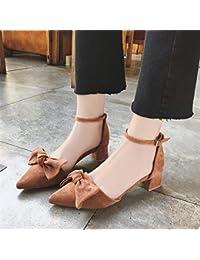 HhGold Zapatos de tacón Alto Mariposa Zapatos de tacón Alto de 5 cm de Espesor con Zapatos de Mujer Colegio Viento Palabra Hueca Hebilla…