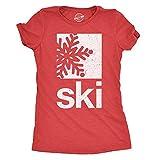 Crazy Dog Tshirts Womens Ski Snowflake Tshirt Cool Outdoor Winter Sports Tee for Ladies -M - Damen - M