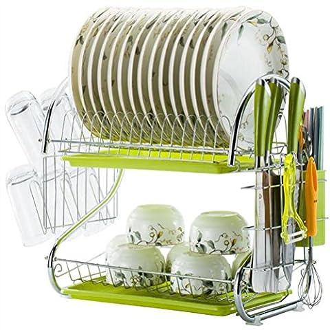 Durable Ensemble de séchage pour vaisselle  Antirouille acier inoxydable Vert Blanc Égouttoir D