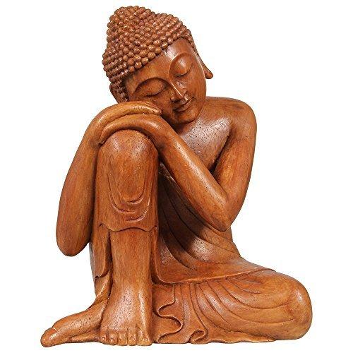 Relajado–Figura de Buda marrón (efecto de madera) 30cm