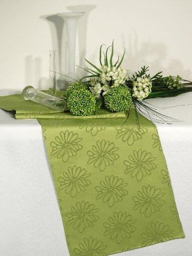 Kamaca BLÜTEN Meer Markenqualität mit Lotus Effekt FLECKSCHUTZ Flüssigkeiten perlen einfach ab (Tischläufer 40x140 cm, grün)