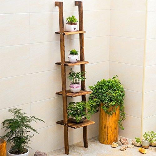 QFF Boden Regal Regal Blumenständer Einfache Unterlage Lagerung Regal Wohnzimmer Fertig Lagerung Regal ( Farbe : Solid wood carbon baking color )