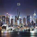 Artland Wand-Funk-Analog-Uhr Digital-Druck Leinwand auf Holz-Rahmen gespannt mit Motiv rabbit75_fot New York City Times Square Städte Amerika NewYork Fotografie Blau A6GG