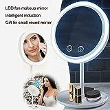 YOLANDE Specchio cosmetico Illuminato a LED per Trucco con Specchio Integrato con circolatore d'Aria a Due velocità, ingrandimento 5X, Interruttore a sfioramento, Rotazione Libera