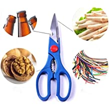 Pindia 1Pc Multifunction Kitchen Food Scissor ,Bottle Opener, Nutcracker, Vegetable / Chicken / Fish Cutter Knife Kitchen Tool- Random Color