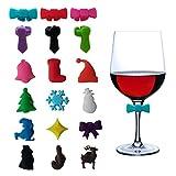 Weinglas-Charms Marker Tags Set von 18, Designerbox Weihnachten Thema Fliege Glas Charms Silikon Sucker Trinken Marker Tasse Aufkleber für Weihnachten Party Dekorationen