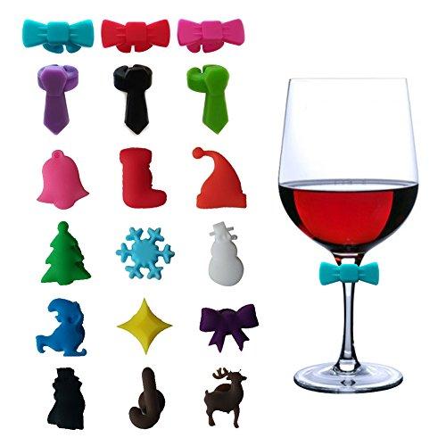 Weinglas-Charms Marker Tags Set von 18, Designerbox Weihnachten Thema Fliege Glas Charms Silikon Sucker Trinken Marker Tasse Aufkleber für Weihnachten Party Dekorationen (Wein Glas Marker Set Mit 12)