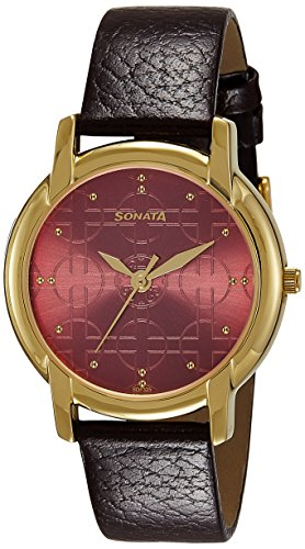 514Dt%2BVCcmL - Sonata 7954YL09 Burgundy Mens watch