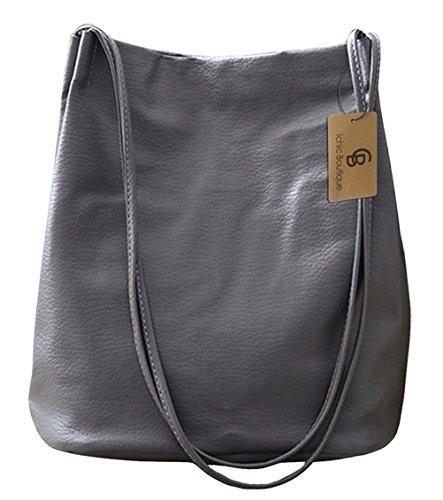 Eimer Tasche Damen Handtasche Leder Schultertasche Umhängetaschen Beutel,Grau E Eimer